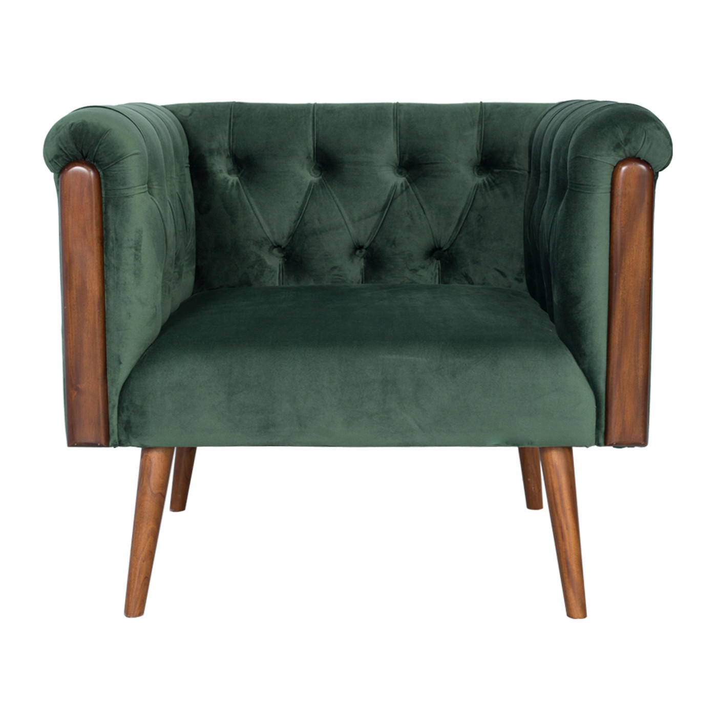 Chesterfield Green Single Sofa