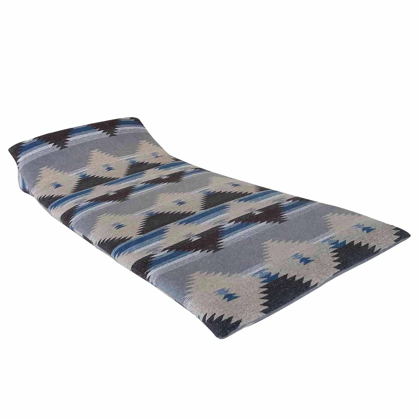 Nador Blue Patterned Floor Mattress