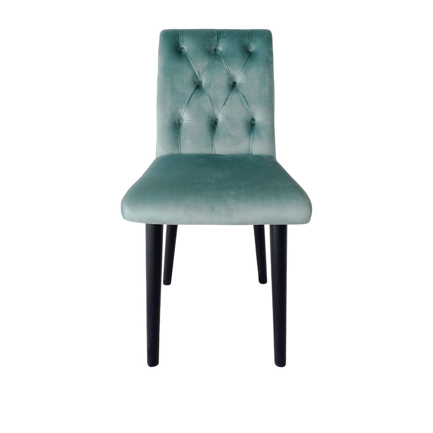 Chesterfield Aqua Green Stitch Black Dining Chair