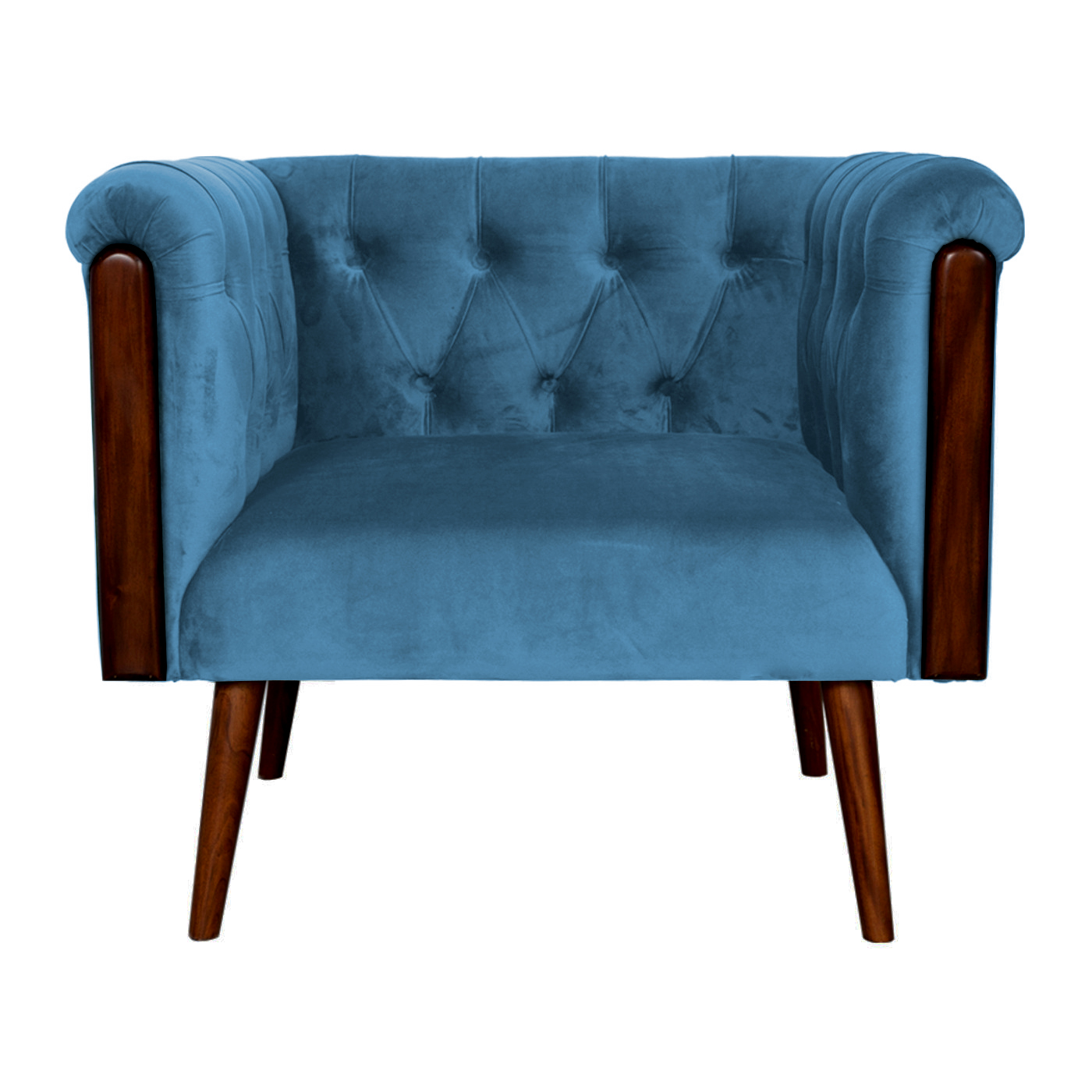 Chesterfield Blue Velvet Stitch Dark Single Sofa