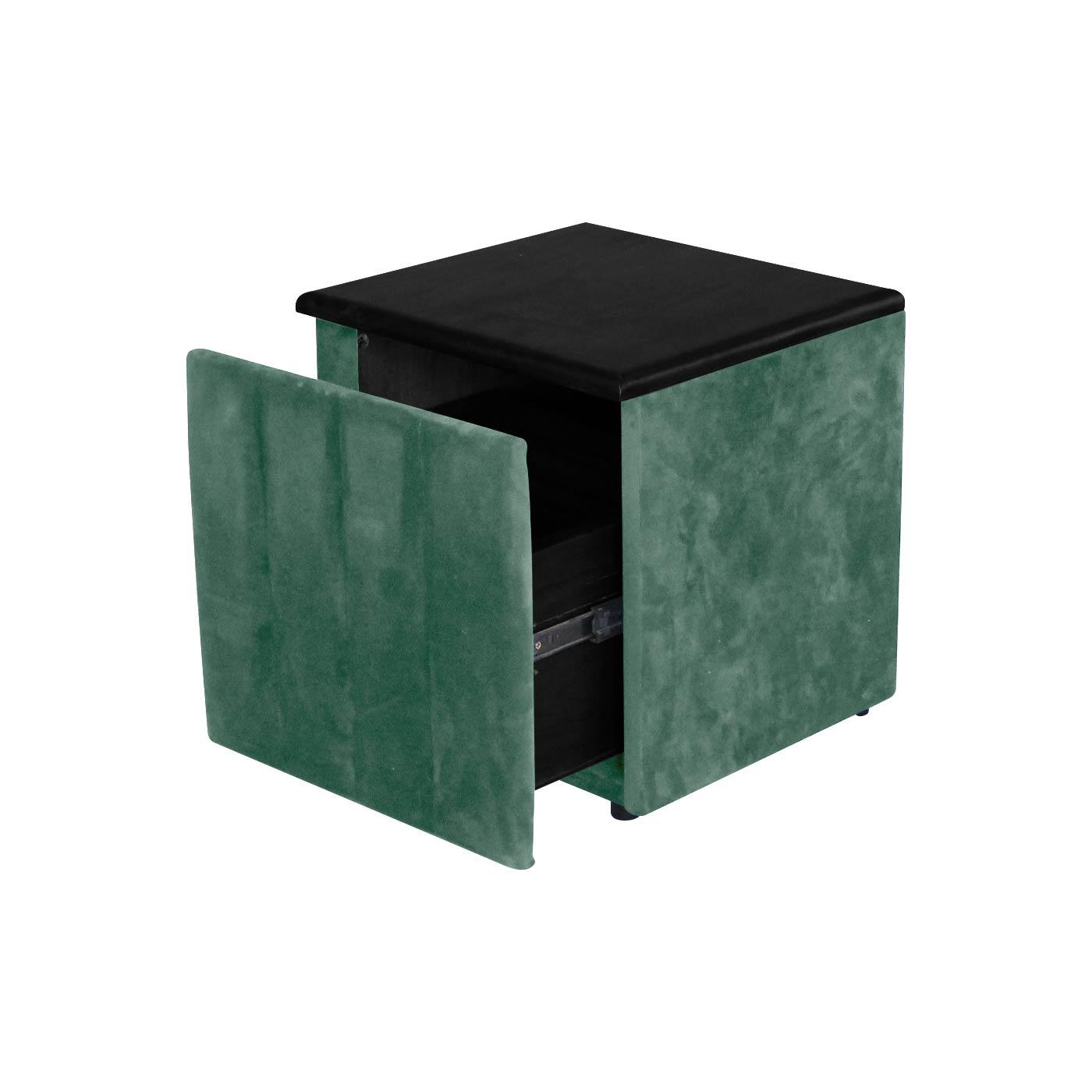 Melrose Dark Green Black Bedside Table