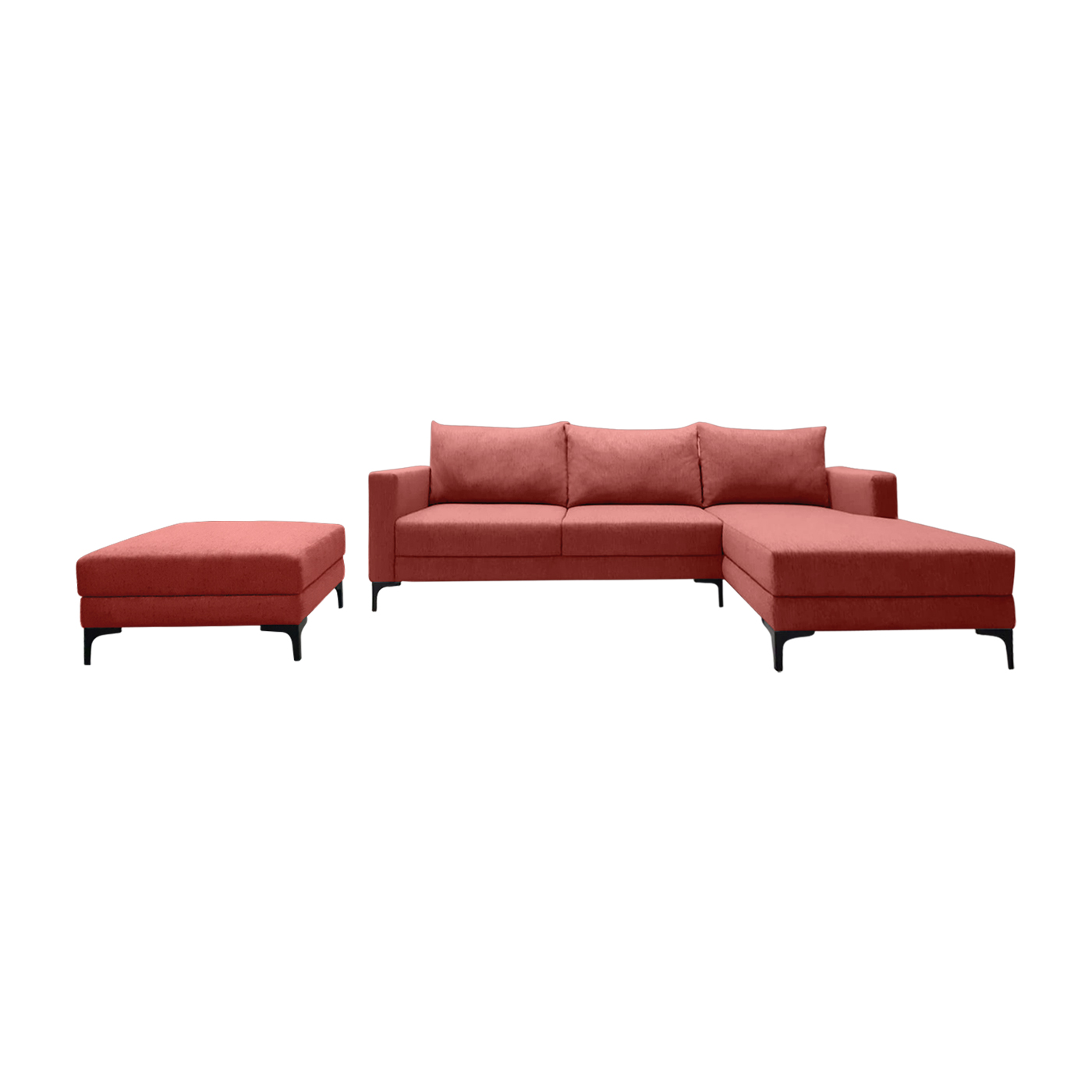 Smithfield Red Sofa & Chaise (Left) With Ottoman