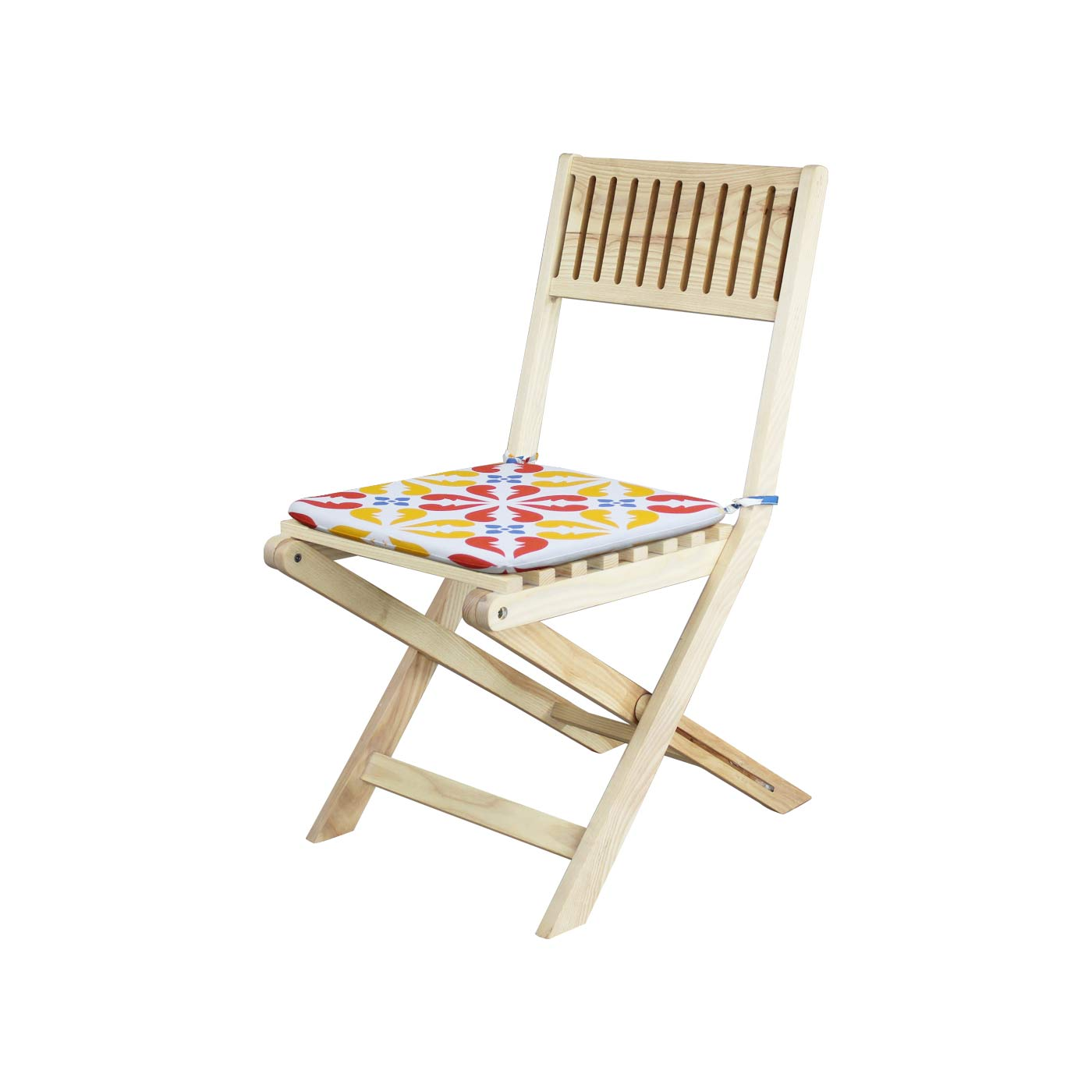 Palermo Yellow & Red Floral Patterned Light Folding Chair