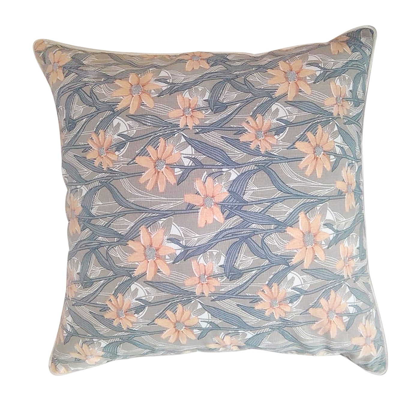 Floral Blue & Peach Pillow