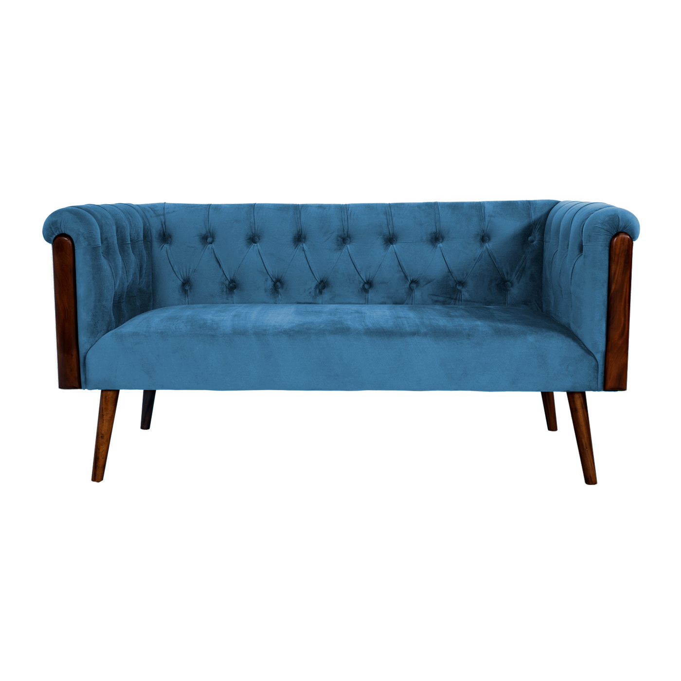 Chesterfield Blue Velvet Stitch Double Sofa