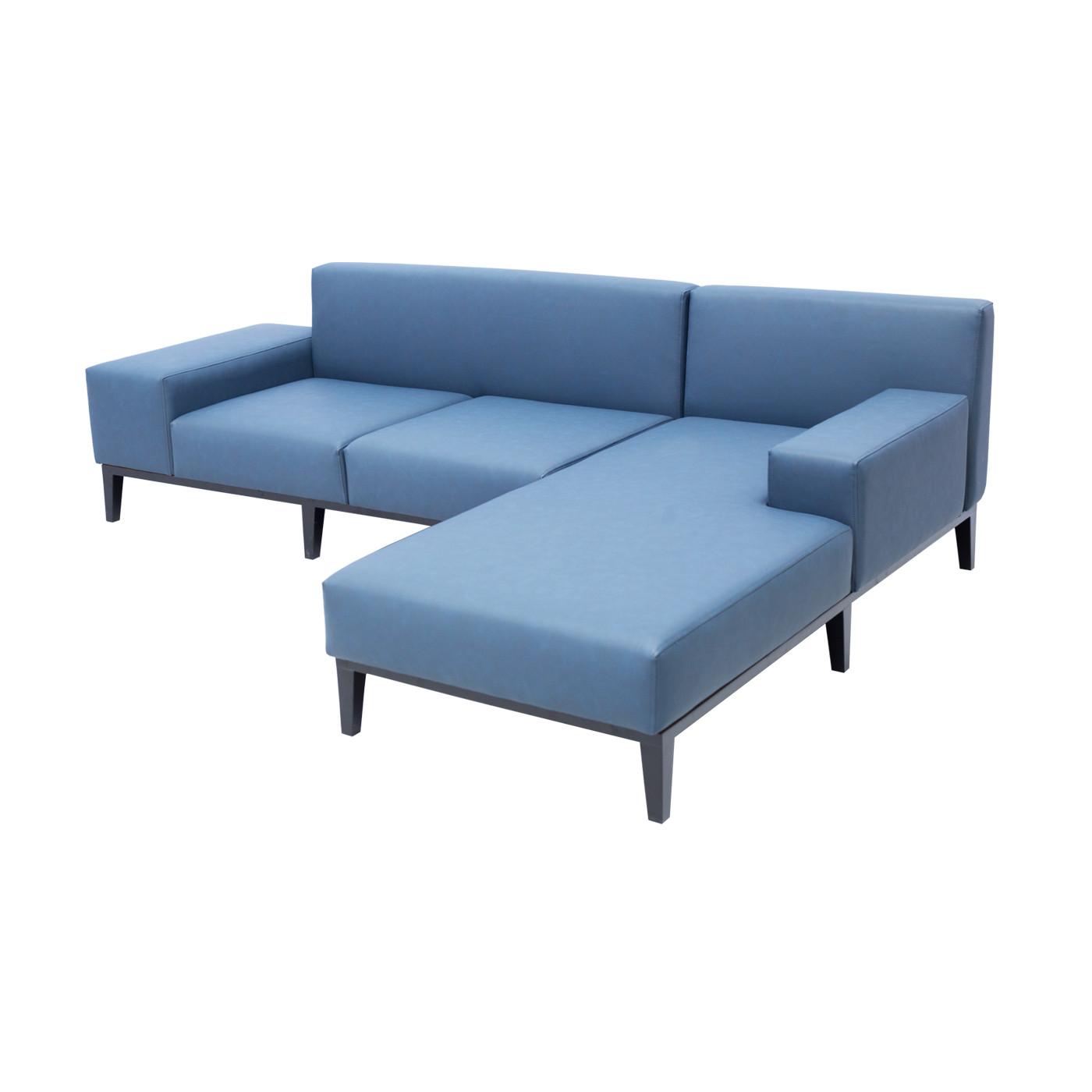 SoHo Blue Faux Leather Sofa Black