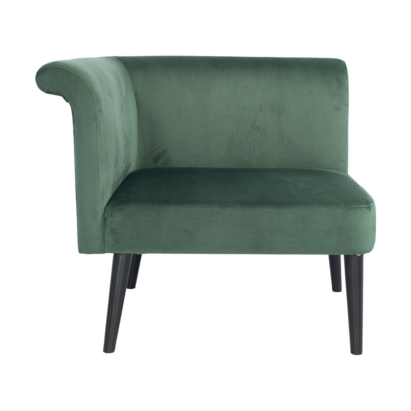 Pompeii Green Velvet Black Single Sofa