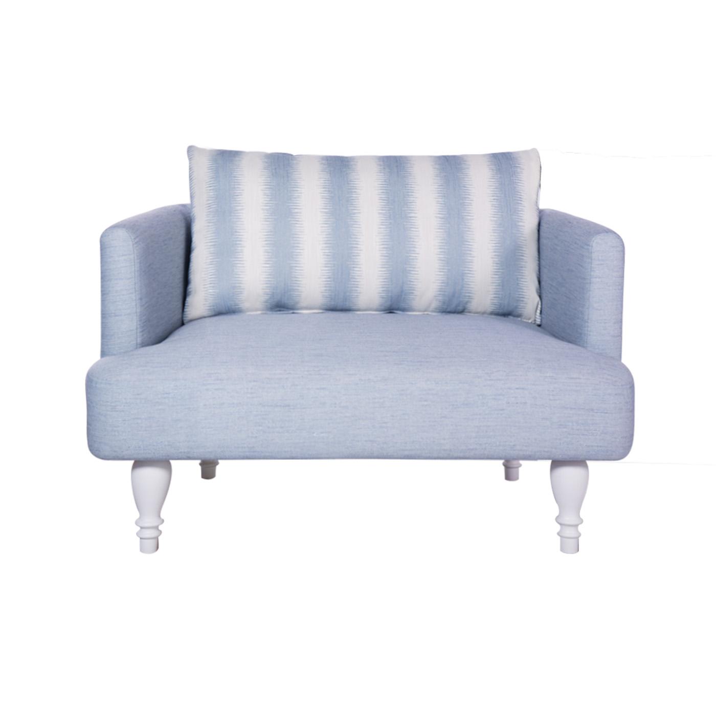 Rosewall Light Blue White Single Sofa (Clearance)